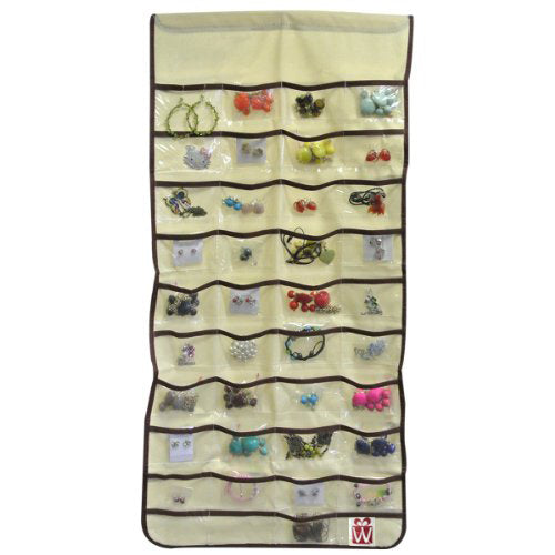 80 Pocket Canvas Hanging Jewelry Organizer