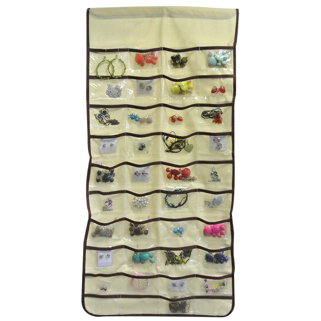 80 Pocket Hanging Jewelry Organizer + Large Burgundy Silk Embroidered Jewelry Roll