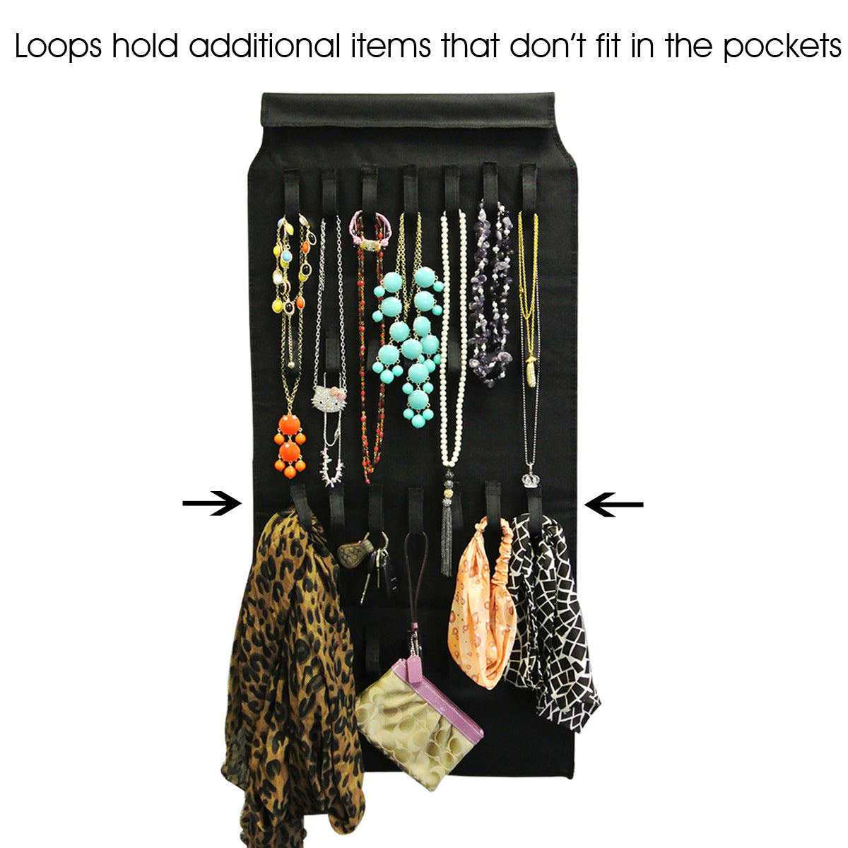 39 Pocket Black Polyester Hanging Jewelry Organizer with 28 Holding Loops