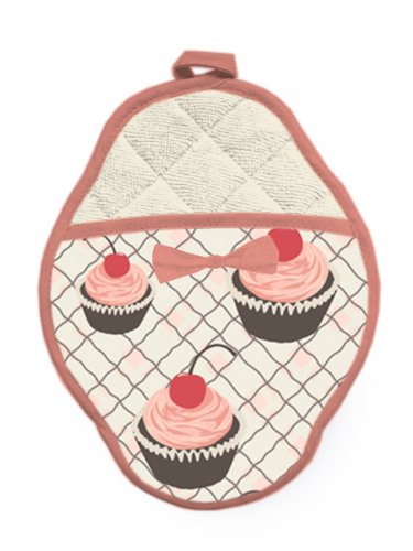 Jessie Steele Cherry Cupcake Scalloped Pot Mitt with Bow