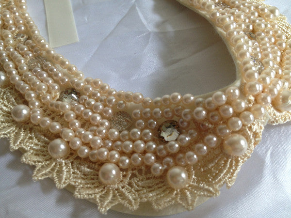 Champagne Lace and Faux Pearls Cloth Collar Necklace