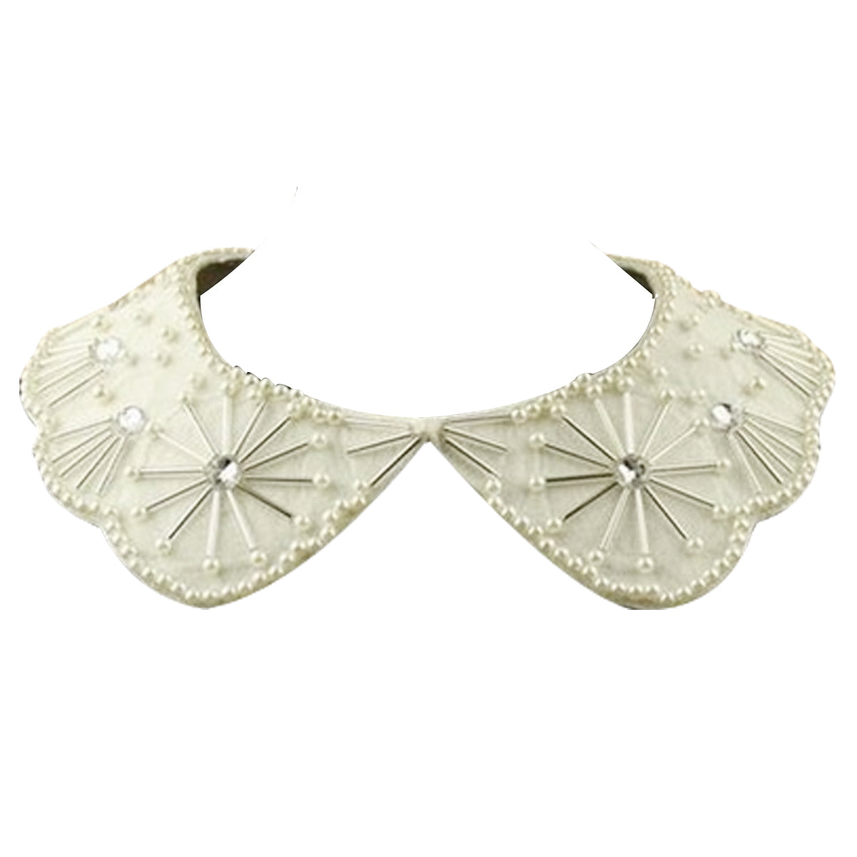 Cream Collar Necklace with Faux Pearls and Snowflake Accents