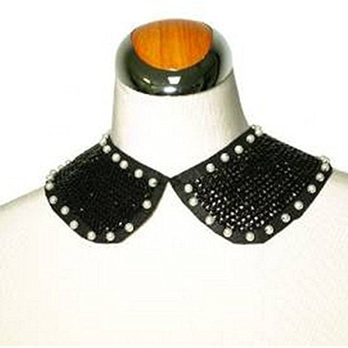 Sequined Black Collar Necklace with Faux Pearls