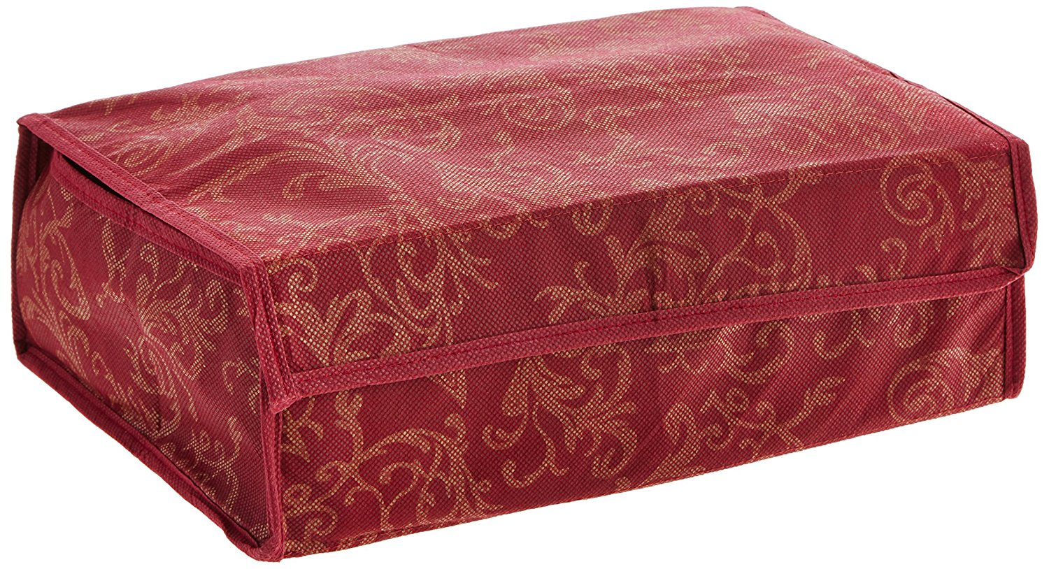 12 Compartment Intricate Leaf Pattern Soft-Cover Foldable Storage Box