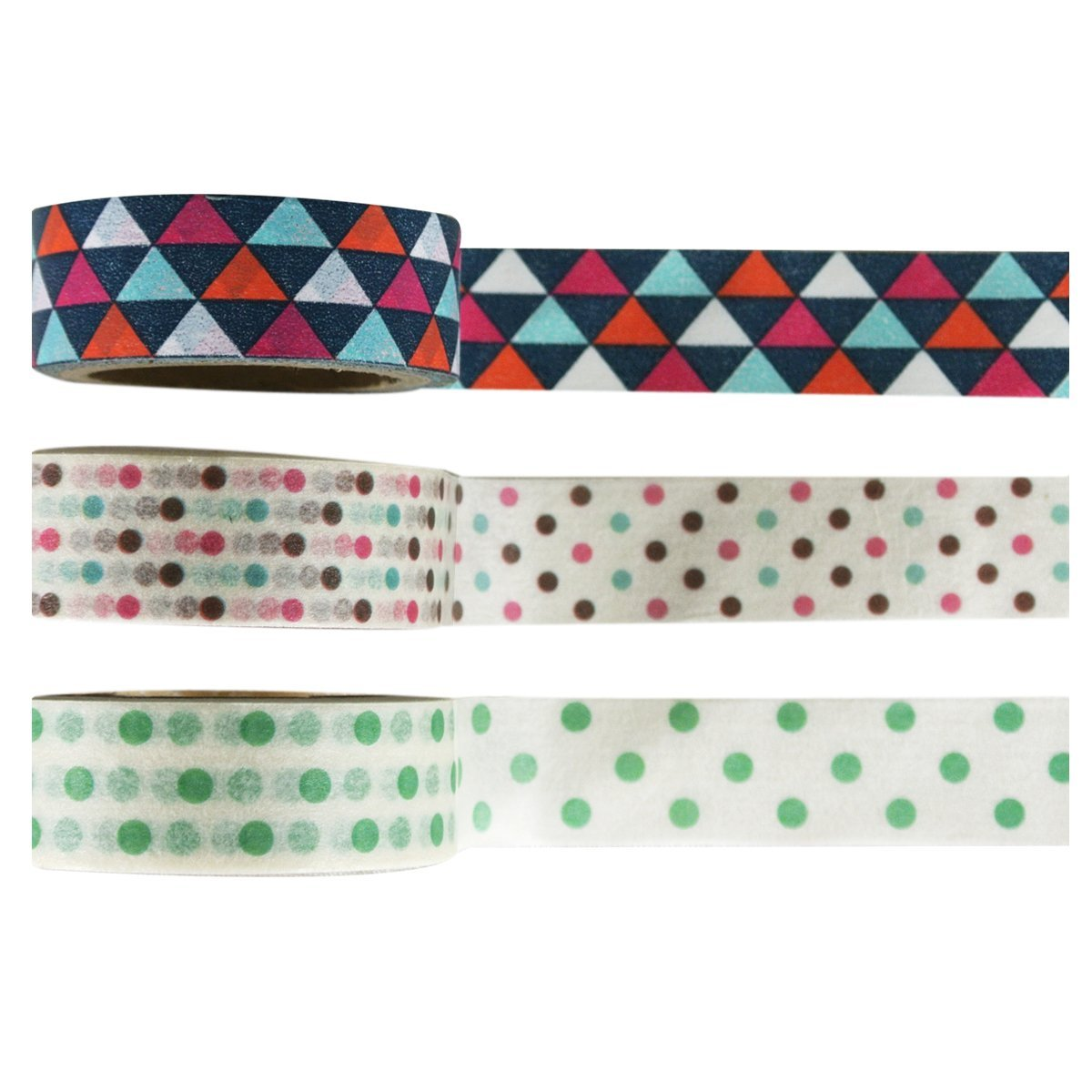 Wrapables Dots & Wedges Japanese Washi Masking Tape (Set of 3)