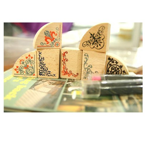 Rubber Stamp Set, 7pc set + 2 ink pens