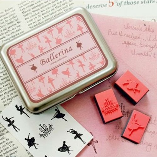 Rubber Stamp Set in Gift Tin, 9pc set + 1 ink pen