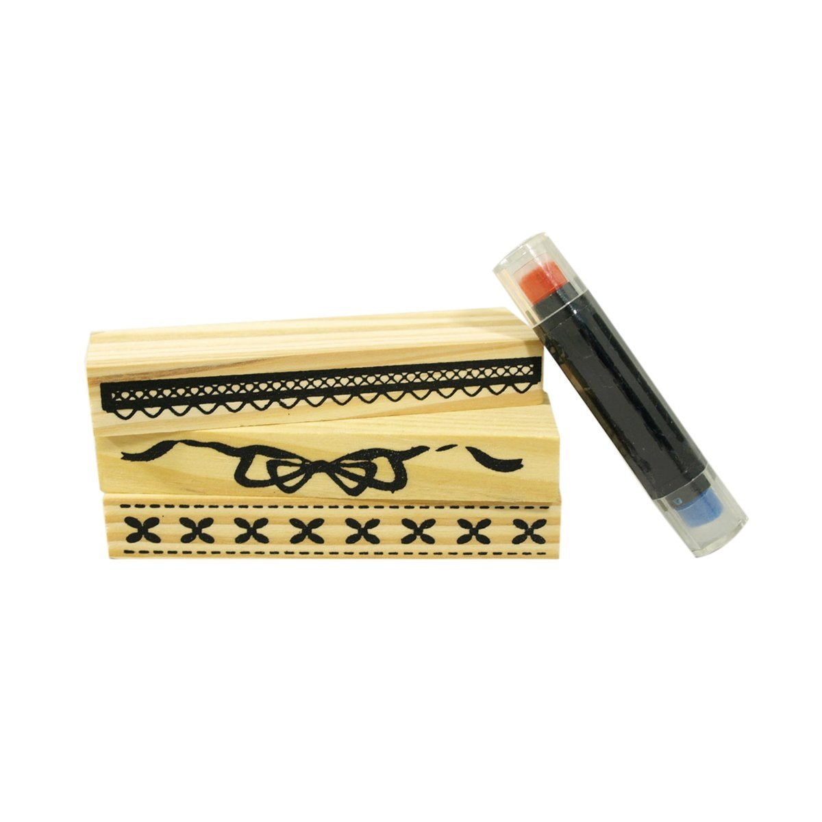 Decorative Borders Rubber Stamp Set, 3pcs set + 1 ink pen