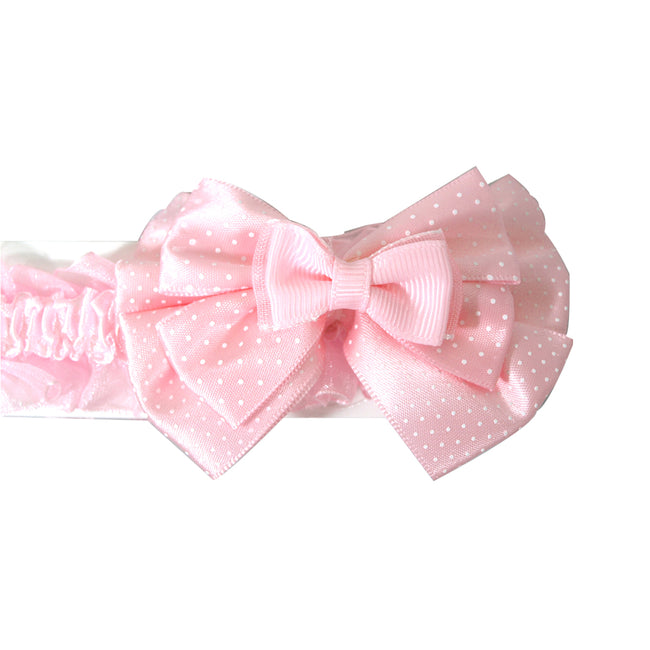 Polka Dot Bow Baby Headband with Ruffles