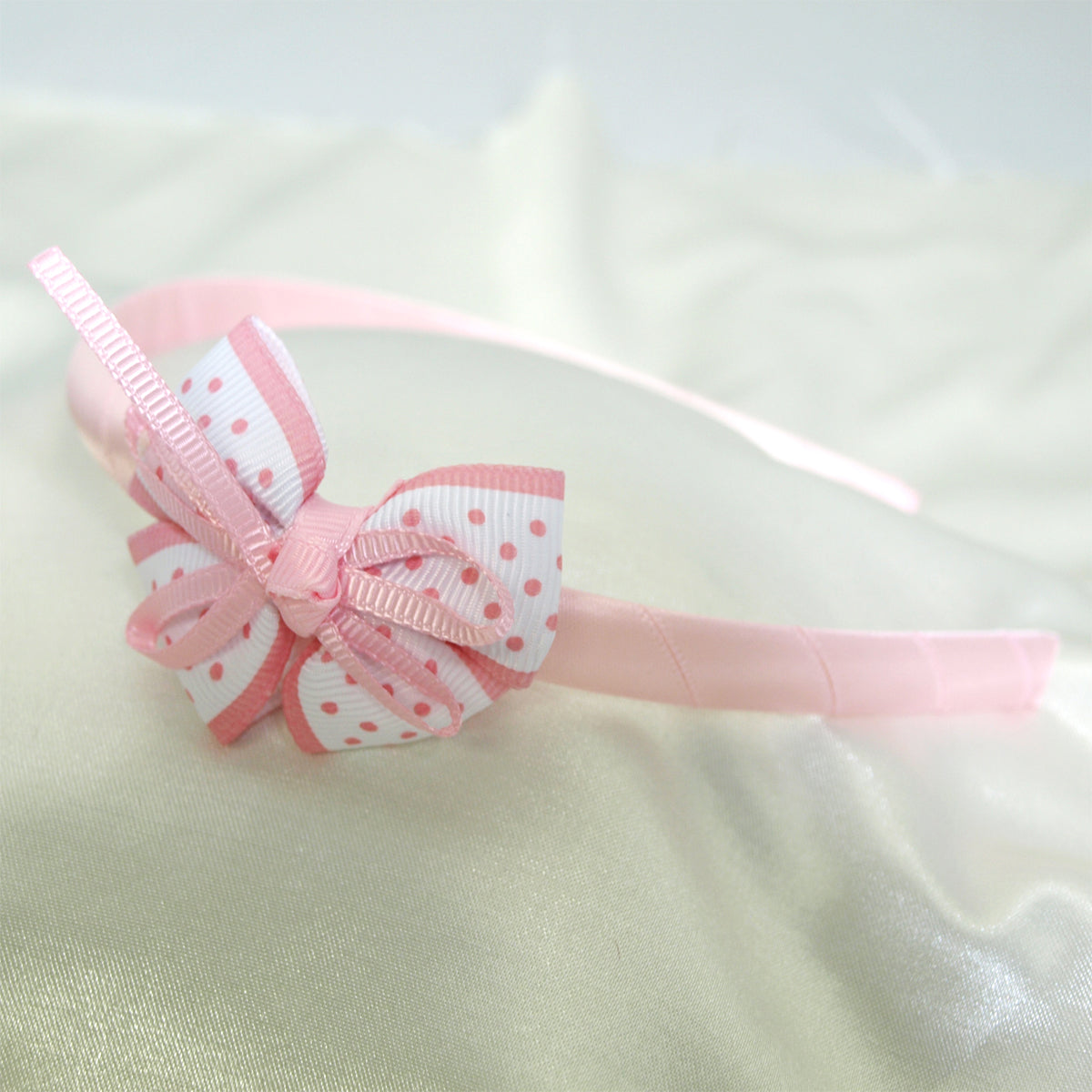 Wrapables Polka Dot Bow with Ribbons Headband for Girls