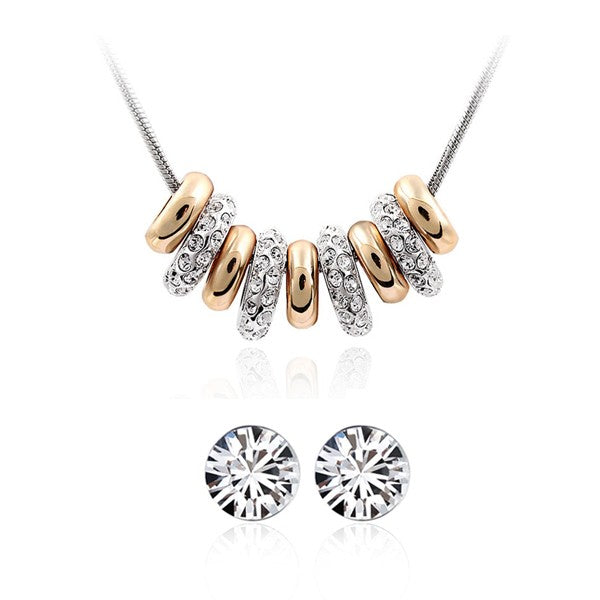Gold Plated 9 Ring Necklace with CZ Rhinestones and Crystal Stud Earrings Jewelry Set