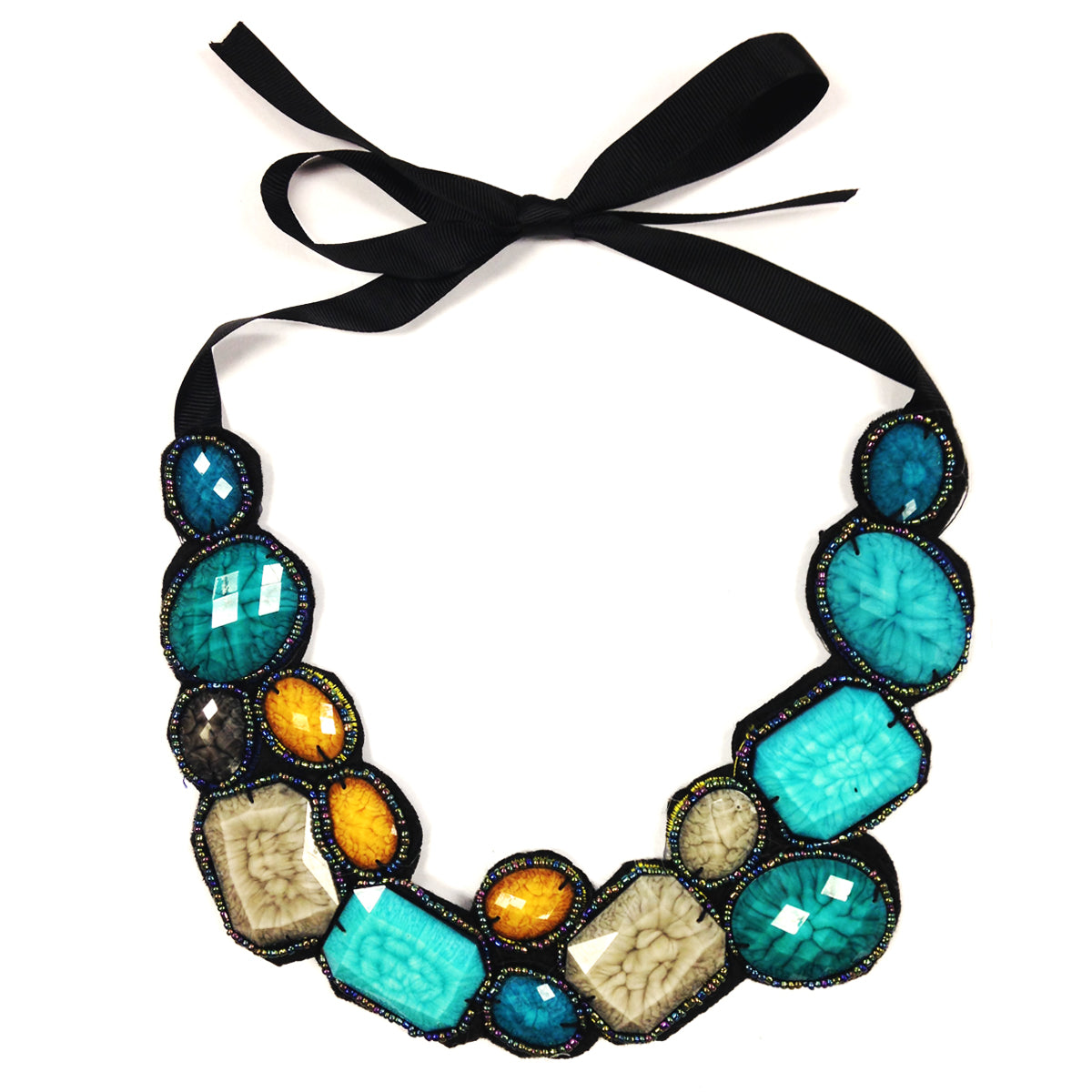 Chunky Aqua Blue Bib Statement Necklace