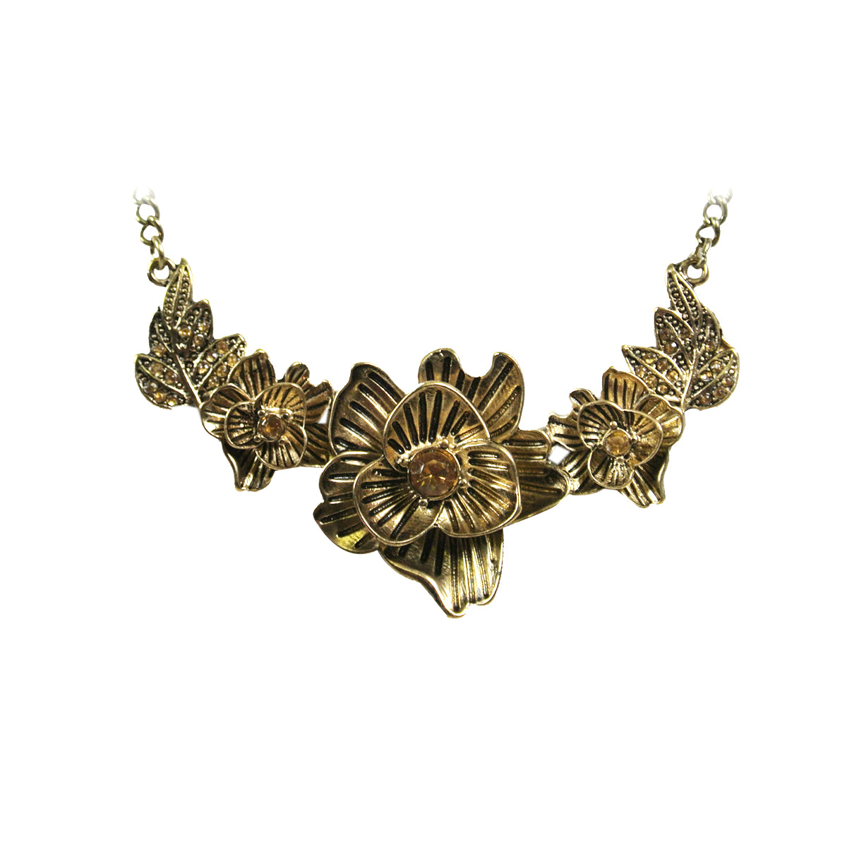 Vintage Autumn Floral Bloom Pendant Necklace
