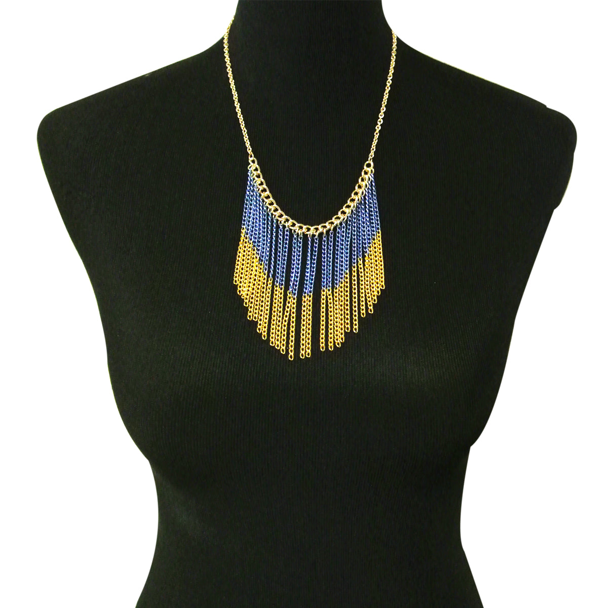 Two Toned Chain Waterfall Bib Necklace