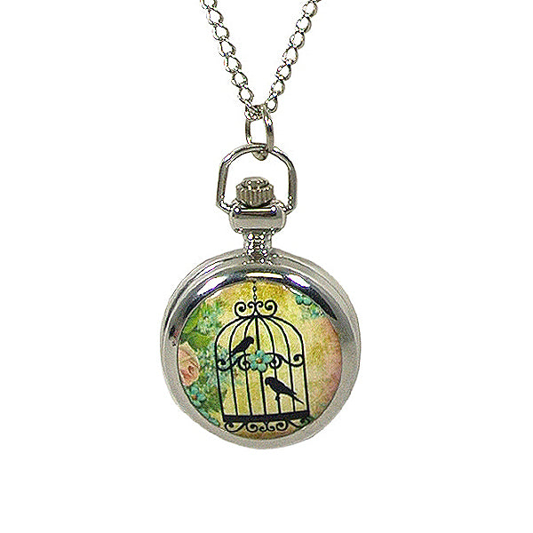 Vintage Ceramic Quartz Locket Watch Necklace