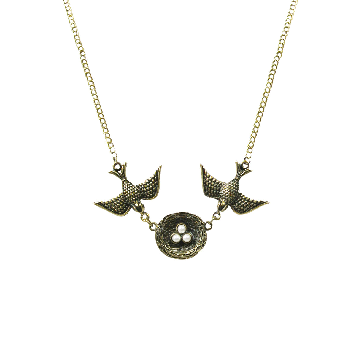 Vintage Swallows and Nest Pendant Necklace with Faux Pearl Eggs