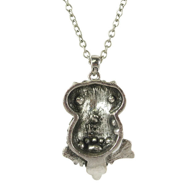 Vintage Antique Silver Finish Rhinestone Owl Pendant Necklace