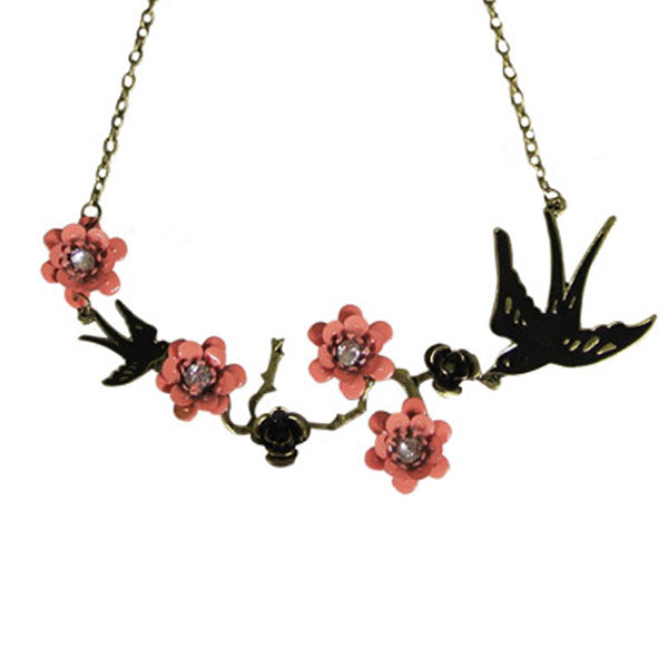 Vintage Swallow and Crystal Peach Blossoms Necklace