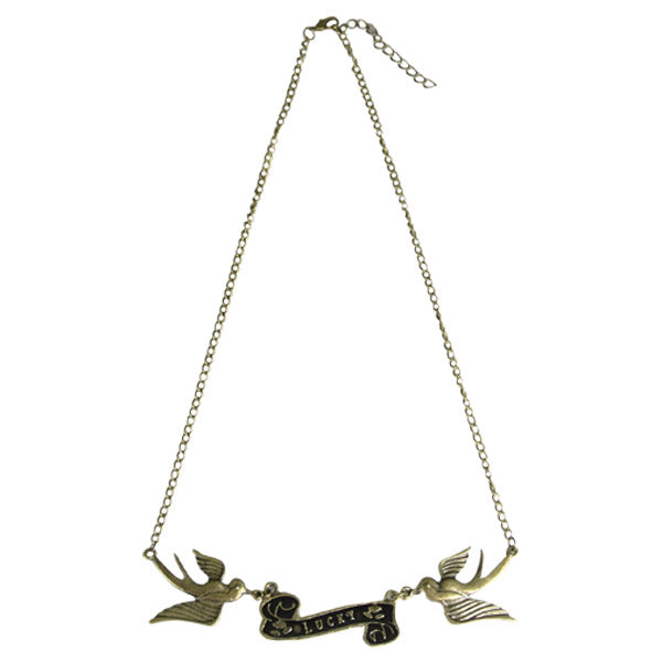 Vintage Antique Bronze Lucky Swallows Necklace