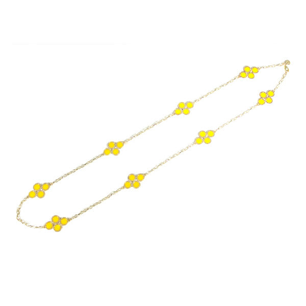 Yellow Clover Long Chain Necklace