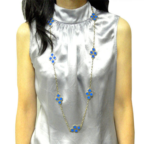 Blue Clover Long Chain Necklace
