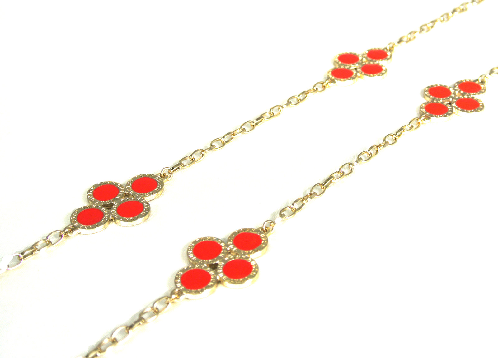 Red Clover Long Chain Necklace