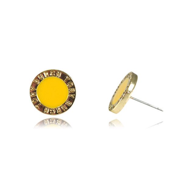 Yellow Enamel Medallion Stud Earrings
