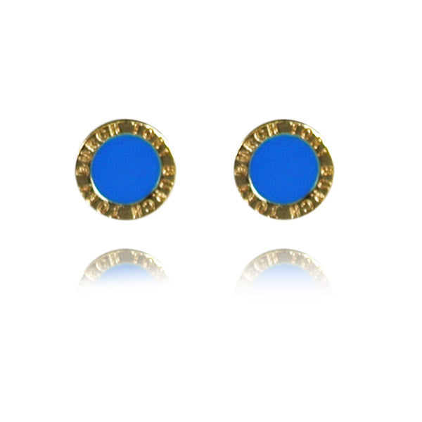 Blue Enamel Medallion Stud Earrings