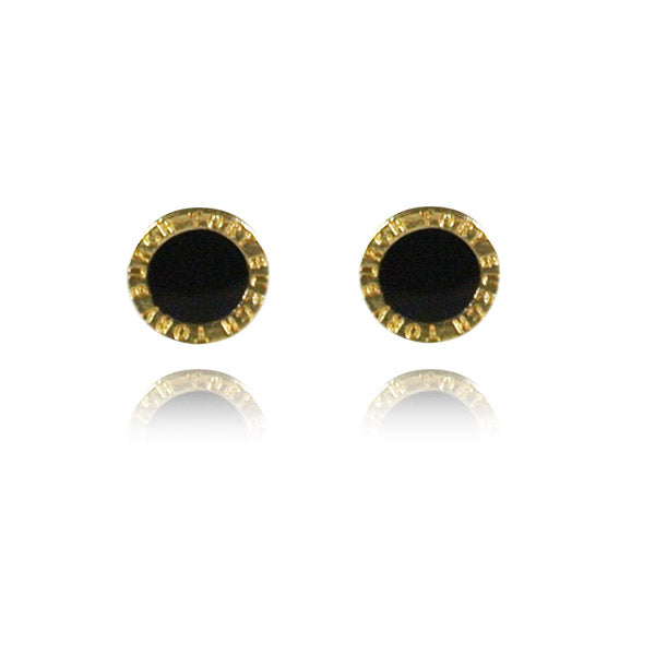 Black Enamel Medallion Stud Earrings