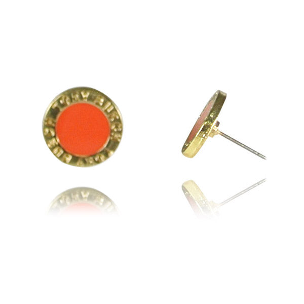Coral Enamel Medallion Stud Earrings