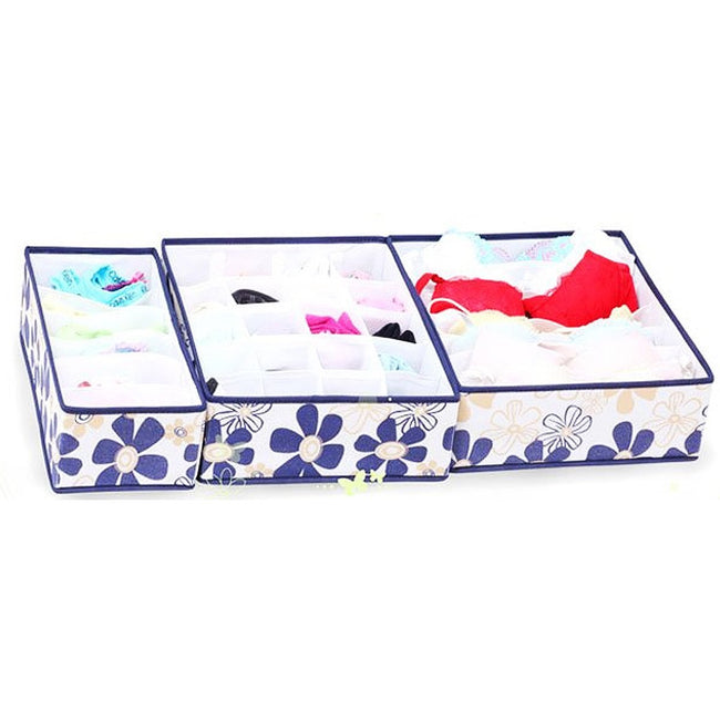 Daisy Underwear Storage Box, Three Piece Set