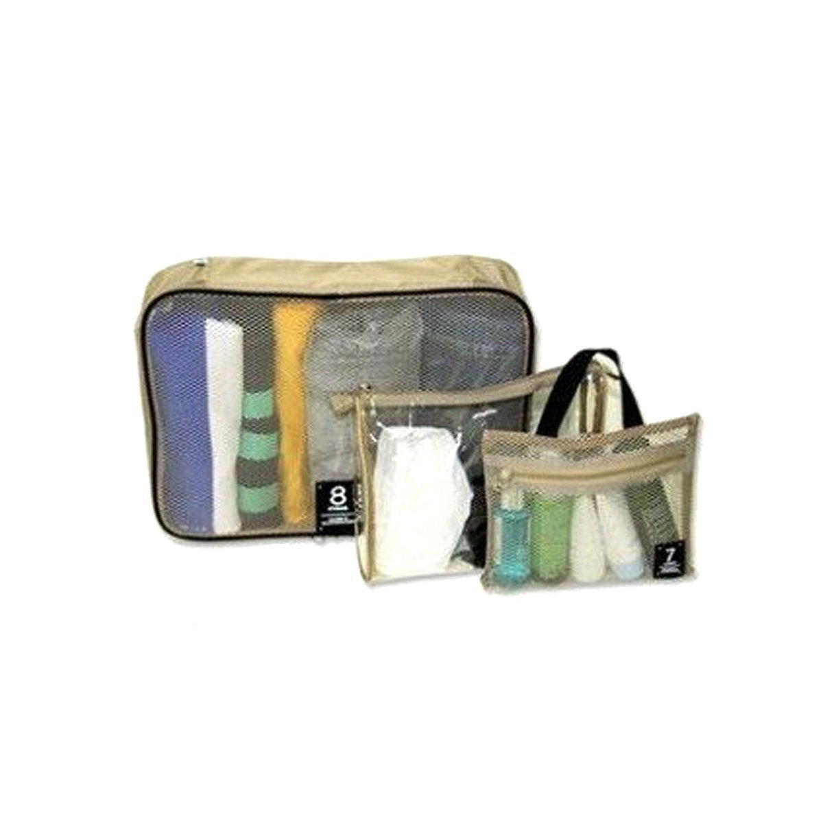 Nylon Mesh Three Piece Travel Bag Set