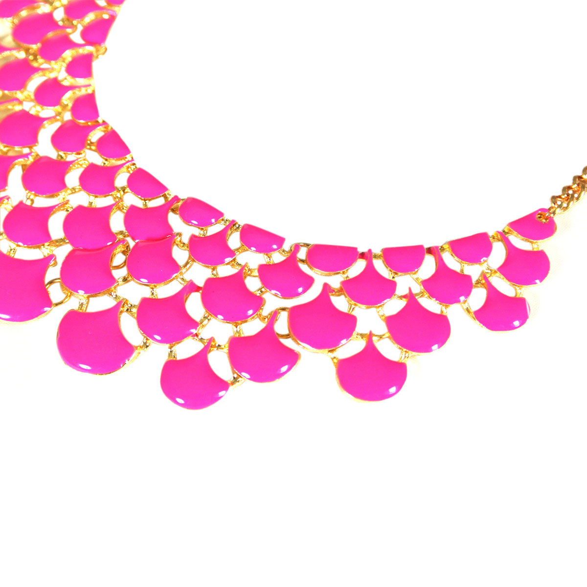 Magenta Teardrop Statement Bib Necklace