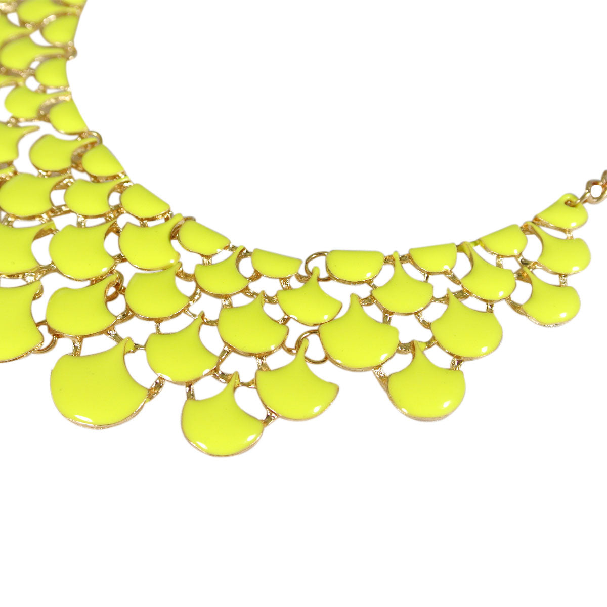 Yellow Teardrop Statement Bib Necklace