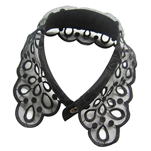 Black Romantic Floral Lace Collar Necklace