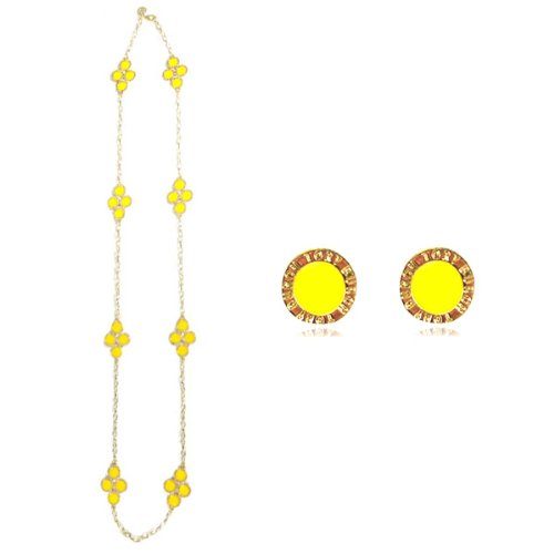 Yellow Clover Long Chain Necklace with Earrings Jewelry Set