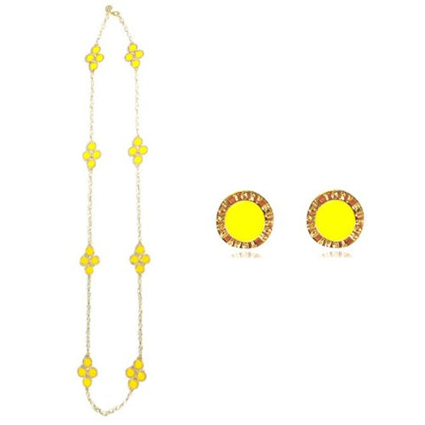 Gold Plated Swarovski Elements Crystal Four Leaf Clover Pendant Necklace and Earrings Jewelry Set