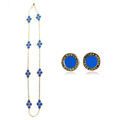 Blue Clover Long Chain Necklace with Earrings Jewelry Set