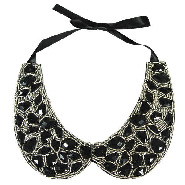 Black Gemstone Peter Pan Collar Necklace