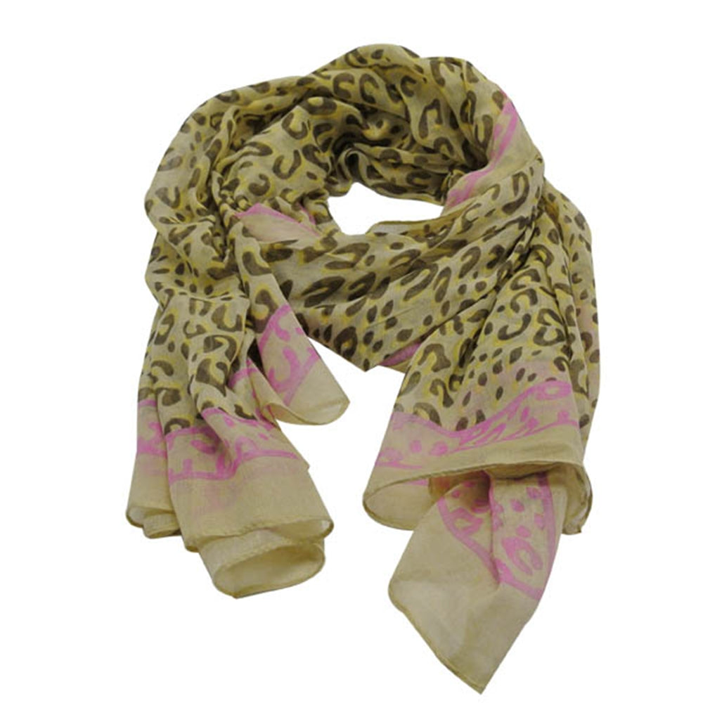 Leopard Print Scarf with Pastel Edging