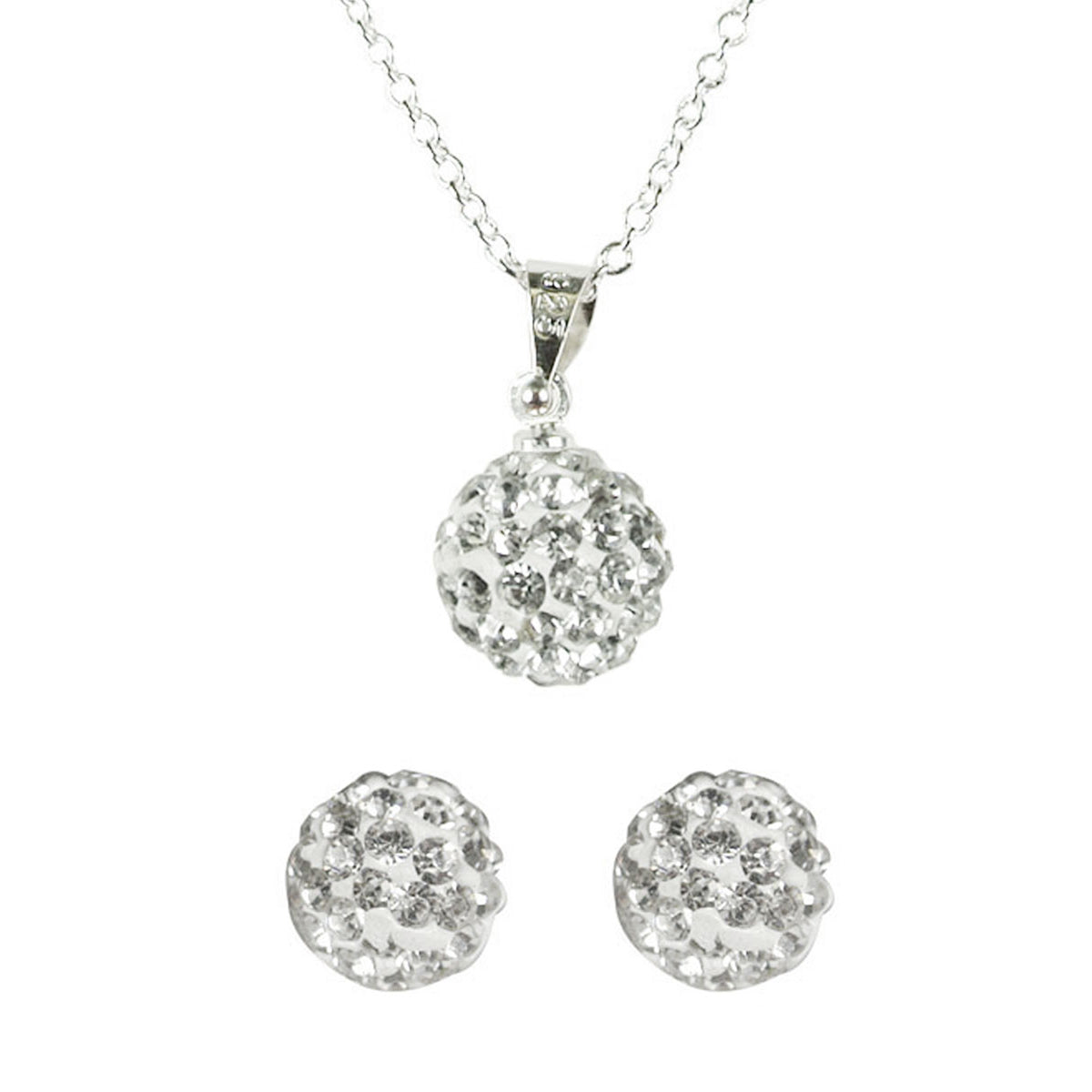 Swarovski Elements Crystal Disco Ball Pendant Necklace and Stud Earrings Jewelry Set, Silver