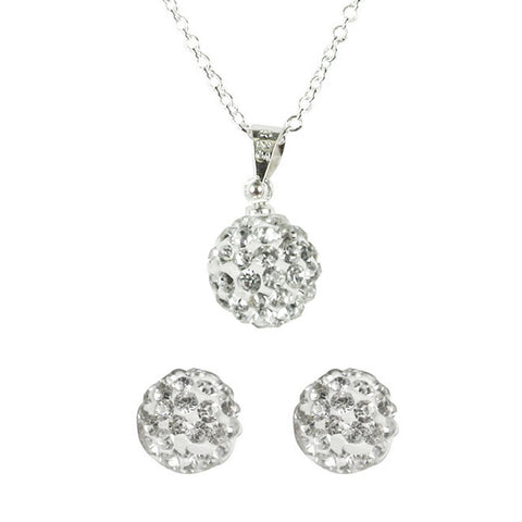 Wrapables Swarovski Elements Crystal Disco Ball Pendant Necklace and Stud Earrings Jewelry Set