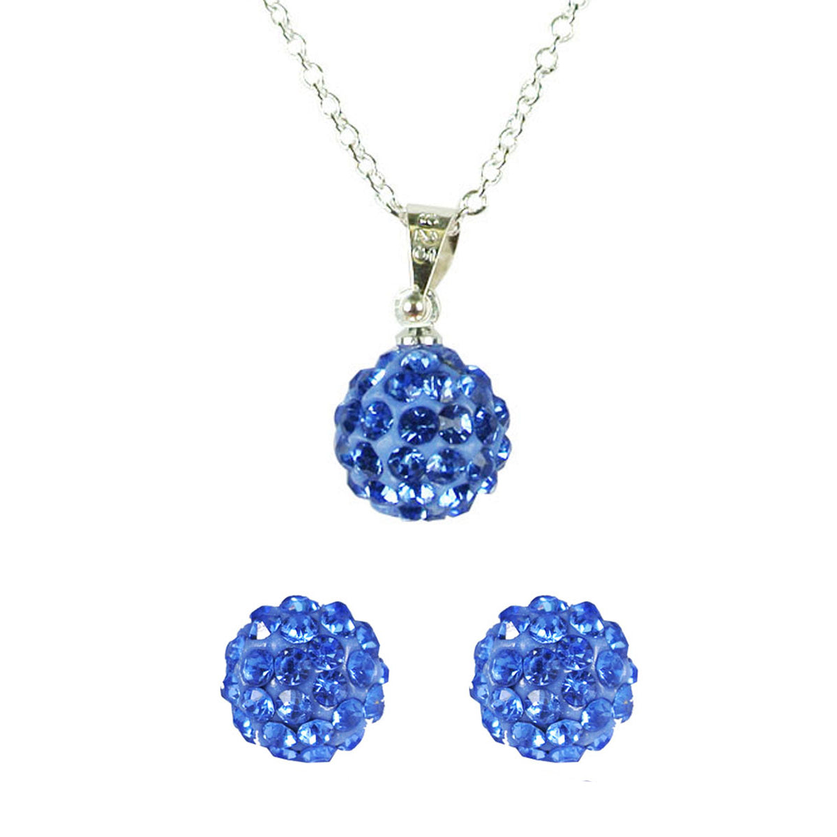 Swarovski Elements Crystal Disco Ball Pendant Necklace and Stud Earrings Jewelry Set