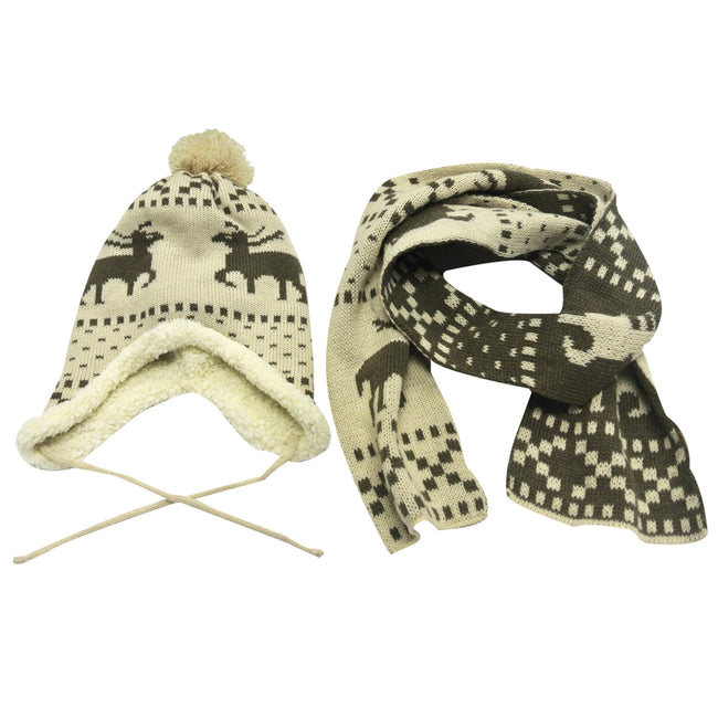 Children's Reindeer Hat and Scarf Set