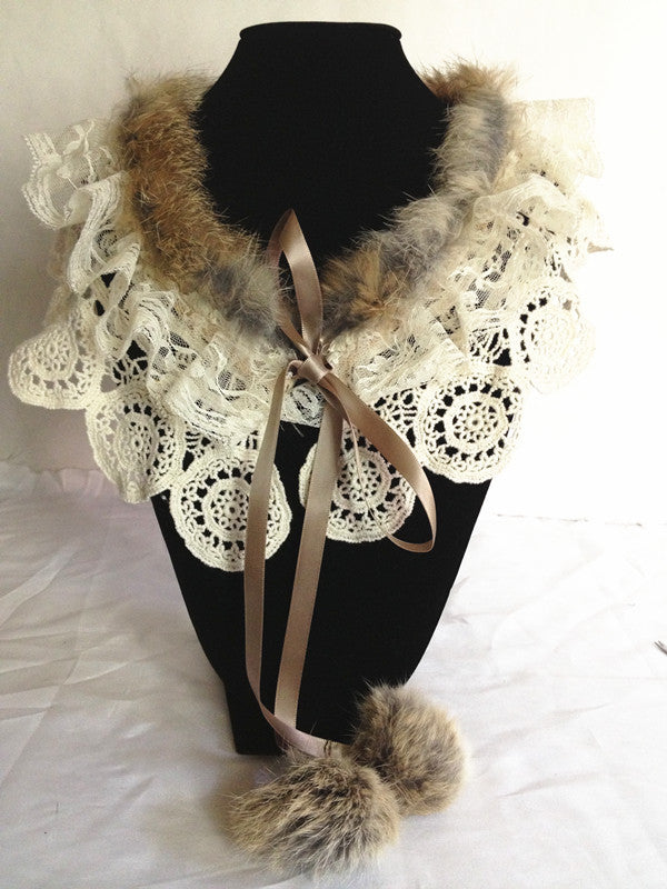 Rabbit Hair and Lace Collar Necklace, Brown