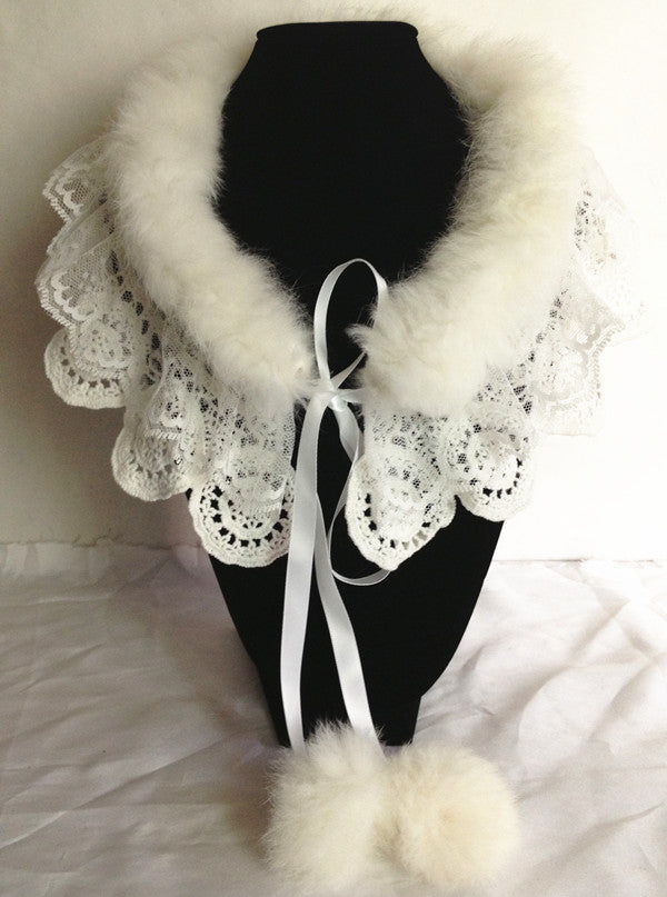 Rabbit Hair and Lace Collar Necklace