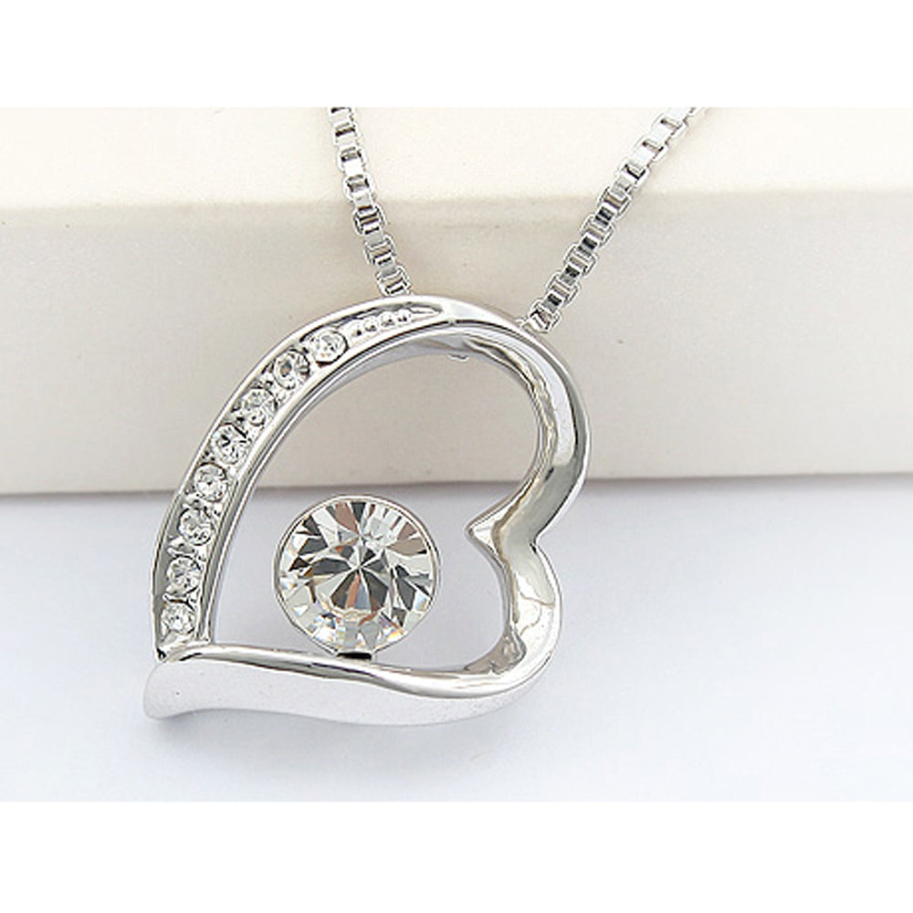 White Swarovski Elements Crystal Jewelry Set - Heart Pendant Necklace and Earrings