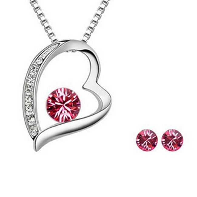 Rose Swarovski Elements Crystal Jewelry Set - Heart Pendant Necklace and Earrings