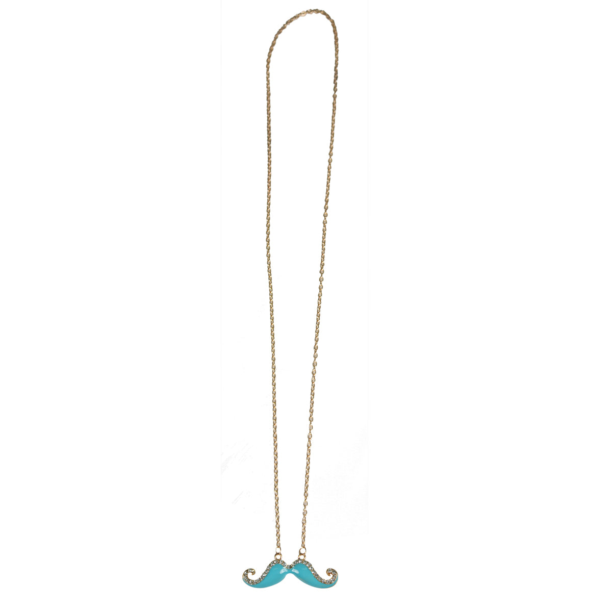 Wrapables Light Blue Handlebar Mustache Necklace with Crystals