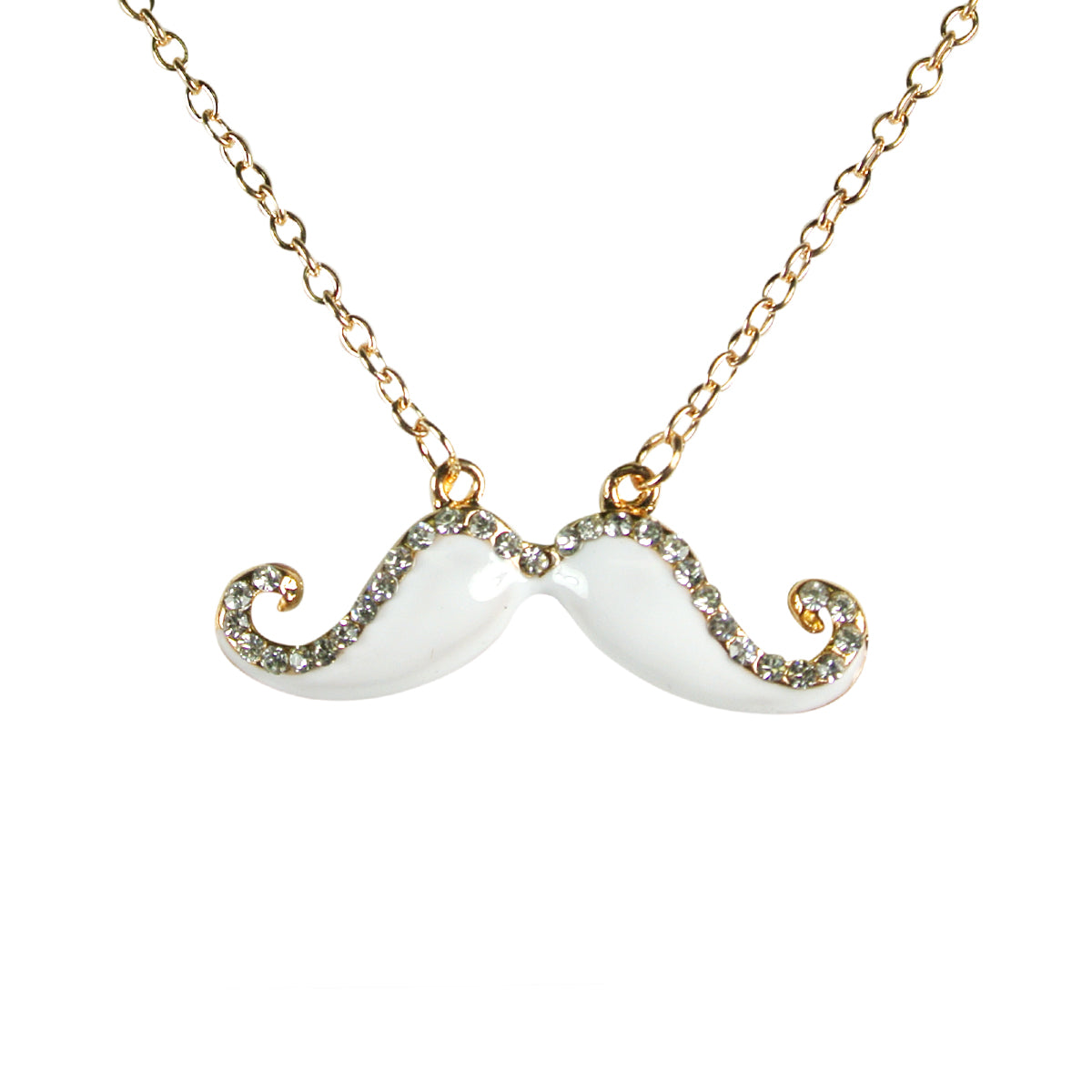 White Handlebar Mustache Necklace with Crystals
